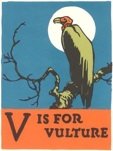 V is for Vulture Konstprint