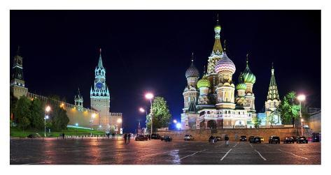Red Square at night, Moscow Art Print
