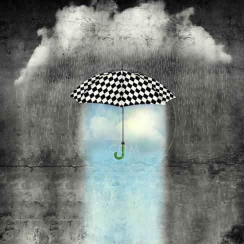 A Surreal Image Of An Umbrella Checkered Black And White Where Below It There Is Good Weather And P Ographic Print By Valentina P Os At Allposters Com