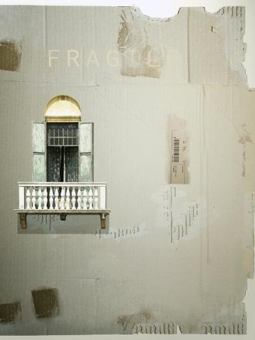 Cardboard as a Background with an Antique French Window with Balcony and Shutter on It Photographic Print