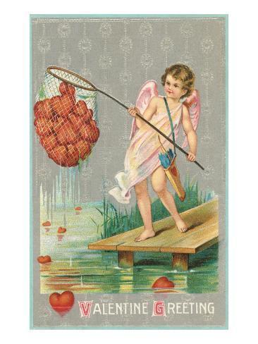Valentine Greeting, Cupid Fishing Hearts Lámina giclée prémium