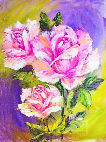 Beautiful Roses, Oil Painting on Canvas Art Print