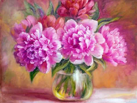 Peonies In Vase Oil Painting On Canvas Posters By Valenty At