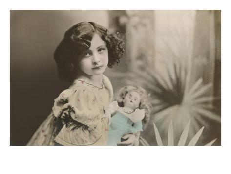 Vamp Girl with Doll Art Print