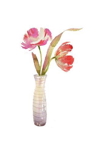 Variegated Tulips in Striped Vase Art Print