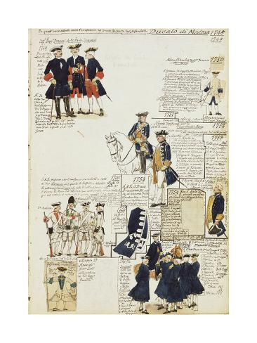 Various Uniforms of Duchy of Modena, Color Plate, 1745-1756 Giclee Print