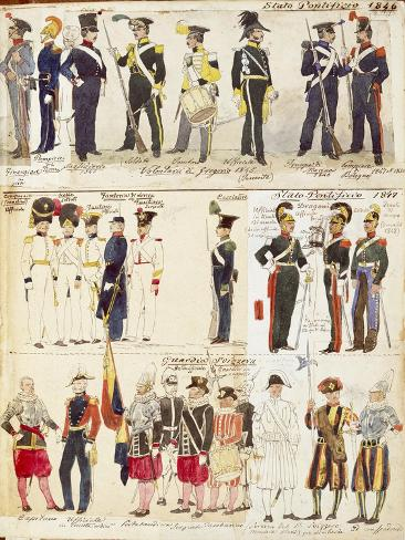 Various Uniforms of the Papal States, 1846-1847 Giclee Print