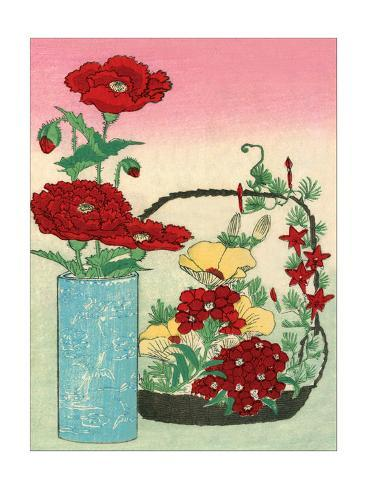 Vase and Basket of Flowers Stampa artistica
