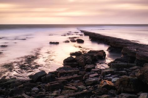Beautiful Toned Seascape Landscape of Rocky Shore at Sunset Photographic Print