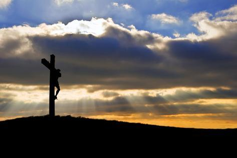 Jesus Christ Crucifixion on Good Friday Silhouette Photographic Print