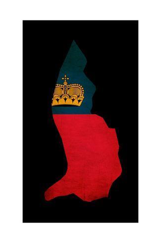 Liechtenstein Grunge Map Outline with Flag Art Print