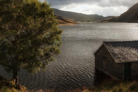 Panorama Landscape Fishing Hut on Mountain Lake in Autumn Photographic Print