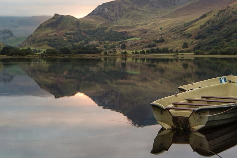 Panorama Landscape Rowing Boats on Lake with Jetty against Mountain Background Photographic Print