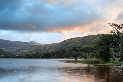 Panorama Landscape Stunning Sunrise over Lake with Mountain Range in Background Photographic Print