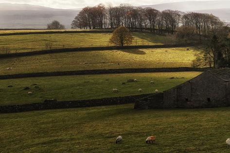 Panorama Landscape Traditional Stone Barn in Autumnal Countryside Lit with Sunlight Photographic Print