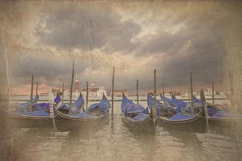 Retro Grunge Photo of Gondolas Bobbing in Lagoon outside San Marco Piazza Venice Italy Photographic Print