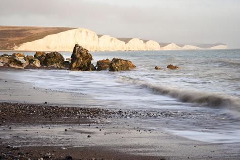 Seascape of Waves Breaking over Rocks Photographic Print