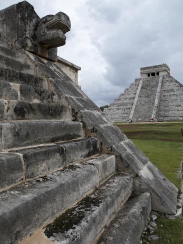 Venus Platform With Kukulkan Pyramid in the Background, Chichen Itza, Yucatan, Mexico Photographic Print