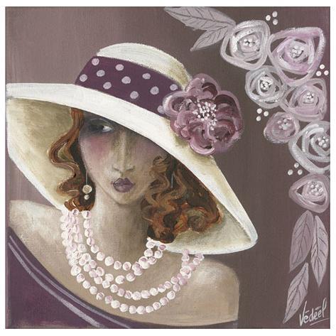 Femme Chapeau Blanc Et Rose Art Print
