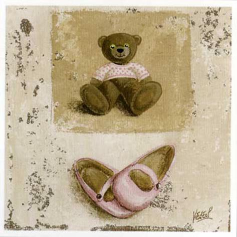 Nounours Rose et Chaussures Art Print