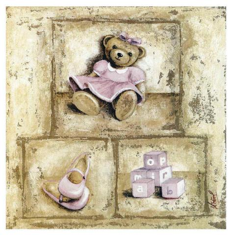 Nounours Rose Art Print