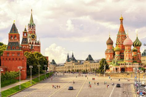 kremlin and cathedral of st basil at the red square in moscow