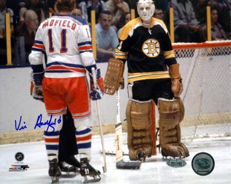 Vic Hadfield Autographed Vs. Boston Bruins Photograph Photo