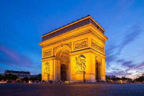 Arc of Triomphe Champs Elysees Paris City at Sunset Photographic Print