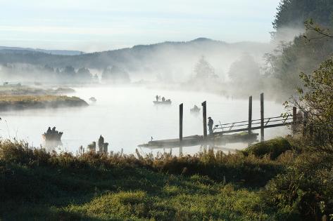 Fisherman Enjoy a Beautiful Foggy Morning Fishing Photographic Print