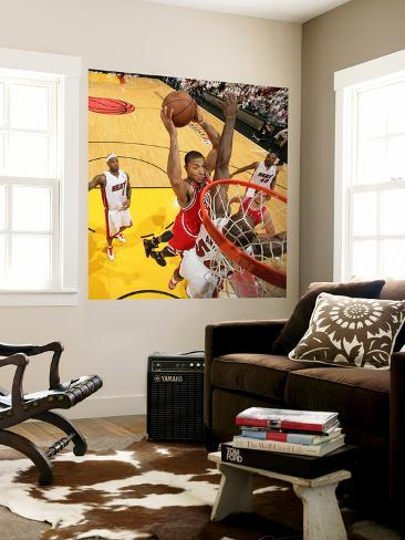 Chicago Bulls v Miami Heat - Game FourMiami, FL - MAY 24: Derrick Rose and Joel Anthony Wall Mural