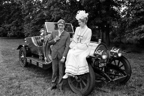 Dick Van Dyke and Sally Ann Howes with Chitty Chitty Bang Bang at Pinewood Studios. Photographic Print