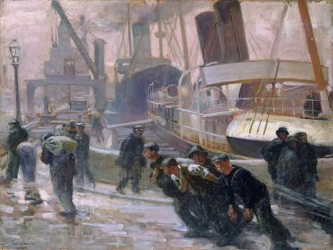 Liverpool Dockers at Dawn, 1903 Giclee Print