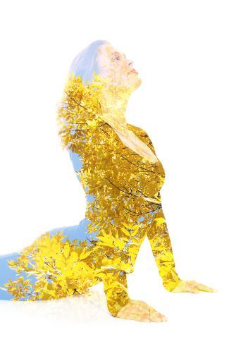 Double Exposure Portrait of Young Woman Performing Yoga Asana Lámina fotográfica