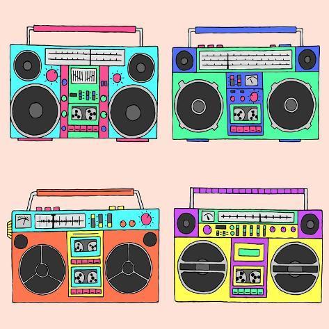 80S Boomboxes Art Print