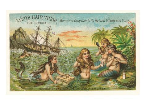 Victorian Advertisement for Hair Tonic, Mermaids Art Print