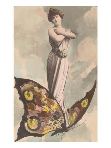 Victorian Lady Standing on Butterfly Art Print