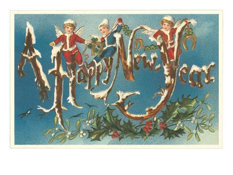 Victorian Santa Angels Lámina