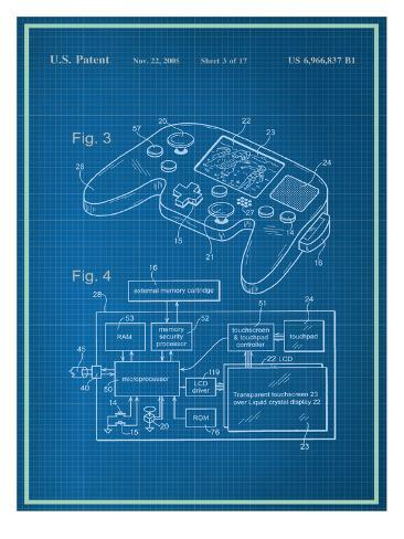 Video game controller blueprint prints allposters video game controller blueprint malvernweather Image collections