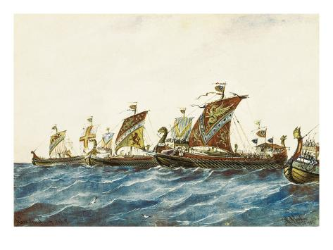 Viking Ships of the King Olaf I of Norway (995-1000) Art Print