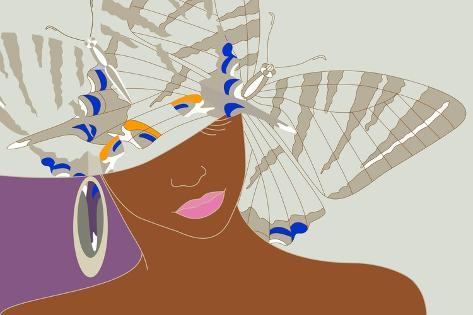 Abstract Portrait of an African Woman in a Hat with a Butterfly, Pink Lipstick and Earrings Beauty Art Print