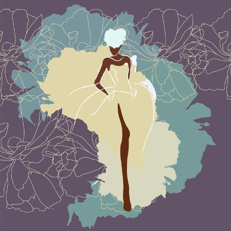 Abstract Sketch of a Woman in a Wedding Dress, Background of Watercolor Spots, Fashion Week, Color Art Print