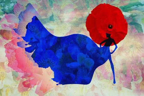 Abstract Sketch of a Woman in Navy  Blue,  Floral Dress and  Red Hat in Form Poppy, Color Fashion P Art Print