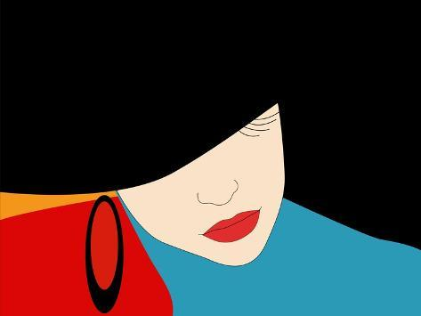 Abstract Vector Pattern of a Beautiful Girl in a Black Hat, Blue Dress, Red Lipstick. Beauty and Fa Art Print