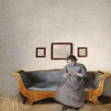 Ida Hammershoi Sitting on a Sofa Impressão giclée
