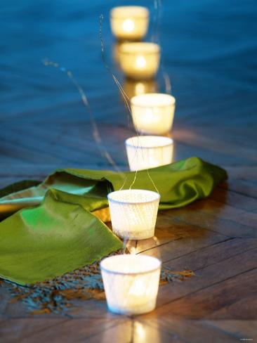 Tea Lights as Table Decoration Photographic Print