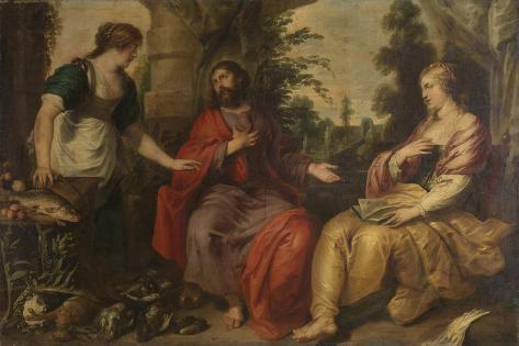 Christ with Martha and Mary Art Print