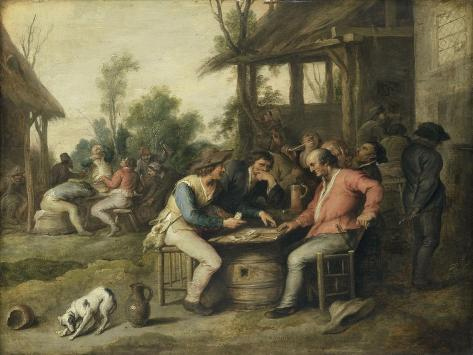 Peasants Playing Cards Outside an Inn Art Print