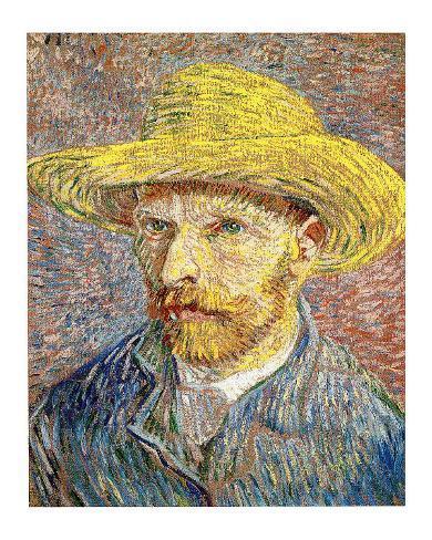 9b1b52b93ee65 Autorretrato con sombrero de paja Lámina giclée por Vincent van Gogh en  AllPosters.es