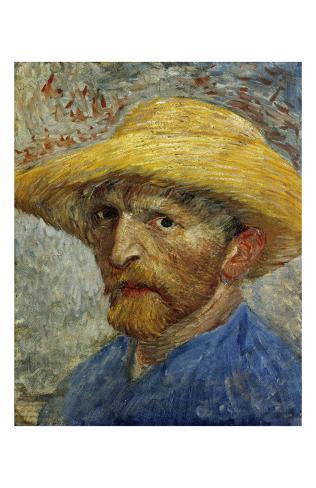 f23e808c3589e Autorretrato con sombrero de paja Láminas por Vincent van Gogh en  AllPosters.es