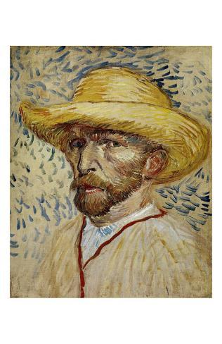 5e82f7092180b Autorretrato con sombrero de paja Pósters por Vincent van Gogh en ...